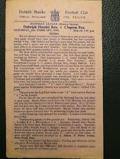 Dulwich Hamlet Res v Clapton Res, (Isthmian Reserve Section), 21.2.1953 (S/S).