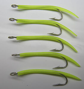 Saltwater fishing 5 pack  6/0 31022 Mustad UV Glow Tube hooks Striper jig lure