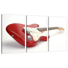 Set of 3 Red Canvas Prints Pictures Guitars Boys Bedroom Wall Art 3007