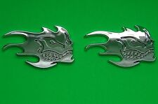 SKULL EMBLEM DECAL STICKER LOGO ABS CHROME FINISH 3D FOR CARS AND BIKES SET (2)