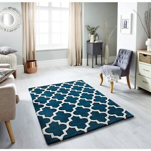 Arabesque Emerald Green Hand Tufted Wool Textured Rug various sizes and runner