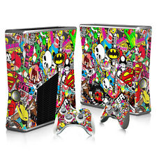 Xbox 360 Slim Console Skin Decal Sticker Graffiti Collage Custom Design Set