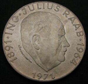 AUSTRIA 50 Schilling 1971 - Silver - Birth of Julius Raab - XF - 955