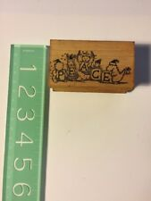 Vintage Wood Rubber Stamp Christmas Holiday All Night Media Peace Animals