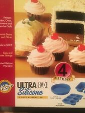 WILTON ULTRA BAKE SILICONE BAKEWARE - 4 PIECE SET CAKE - MUFFIN - LOAF     #7/3