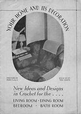 Coats Clark 30 Home Decoration Crochet Patterns Edgings Doilies Chair Bath 1933