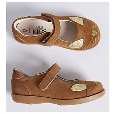 RRP £24 New M&S Girls Tan Suede Leather Cross Bar Party Shoes UK 6 Infant EUR 23