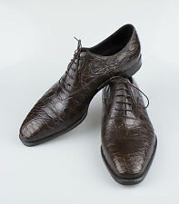 New BRIONI Brown Crocodile Leather Oxford Dress Shoes Size 9/42