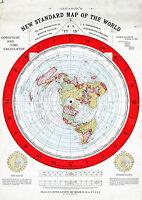 "Flat Earth Map 1892 Alexander Gleason 16""x23"" New Standard Map of the World 1892"
