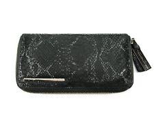 Kenneth Cole New York Wallet, Zipper Organizer Clutch, Black Leather Snakeskin
