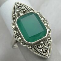 Vtg Art Deco Sterling Silver Marquise Natural Chrysoprase Marcasite Sz 6 Ring