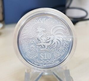 1993 $10 Singapore 2 Oz. Silver Piedfort Lunar Year of the Rooster Coin