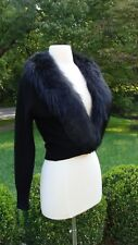 Vintage Black Cashmere Cardigan Sweater Detachable Fox Fur Collar Small