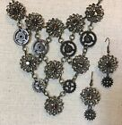 Steampunk Necklace- Up-cycled Pieces w/ Gears & Matching Earrings