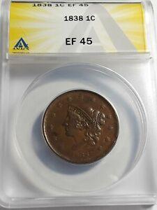1838 U.S. Large Cent ANACS EF45
