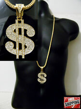 Gold Pave Crystal Dollar Sign Money Rich Hip Hop Iced Out Necklace Franco Chain