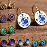 Elegant Women Glass Round Flower Ear Stud Earrings Crystal Rhinestone Jewelry
