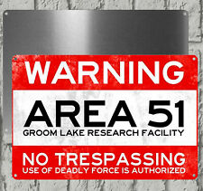 AREA 51 WARNING SIGN - Vintage - Metal Sign For Indoor or Outdoor* 20 cm x 15 cm