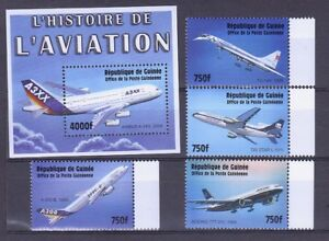 """GUINEA M/S BLOCK STAMPS+STAMPS **MNH """"L""""AVIATION"""""""
