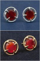 Solid 925 Sterling Silver Carnelian Gemstone Rose Gold Plated Stud Gift Earring