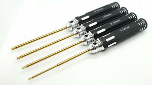 RC Metric Allen HEX Driver 4pcs Tool Set Titanium Coated Tips Screwdriver-Hobby