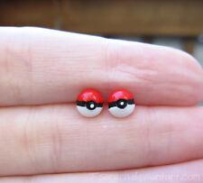 Handmade Small Pokemon Pokeball Earrings Nickel Free Stud Pokeballs Nintendo