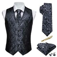 Mens formal silk  paisley  waistcoat black vest necktie set wedding prom casual