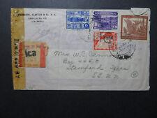 Peru 1943 Censored Registered Cover ICA to USA / Creasing - Z10795