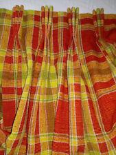 Custom Mcm Red Orange Plaid Pinch Pleated Drape Curtain Panel Barkcloth Vtg 100