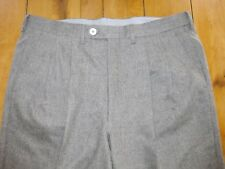 LUCIANO BARBERA Light Gray 100% Wool FLANNEL Pleat STAPLE Pants IT 50 ~ 36 ITALY