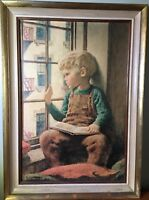 """Vintage James Chapin """"The Picture Book"""" Original Framed Print 1946 Rare Piece"""
