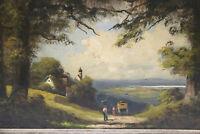 Gemälde Arnold Leuchtenberg Bauern Postkutsche Inntal  20. Jahrh.