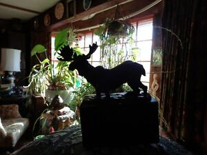 Bronze Maine Bull Moose on a black marble plinth--really a nice detail and size