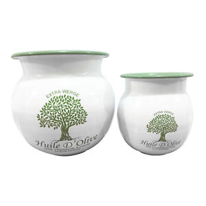 Shabby Chic Set of 2 French Country Style Pots Featuring Olive Green Motif
