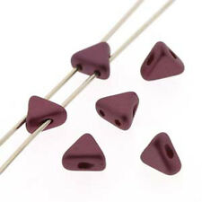 Pastel Burgundy 9 Grams Kheops Par Puca 6mm 2 Hole Triangle Beads