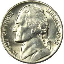 1942 P 5c Jefferson Wartime Silver Nickel US Coin BU Uncirculated Mint State
