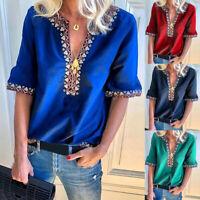 Sexy V-Neck Tops 1/2 Sleeve Geometric T-Shirt Women's Summer Casual Shirt Blouse