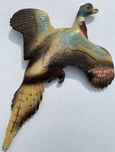 Vintage Grain Belt Beer Flying Pheasant Sign Bird Hunting Chalkware Plaster Wall
