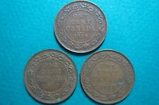 CANADA, 1916-1918  ONE CENT COINS, Lot of  3  King George V Bronze Large Coins