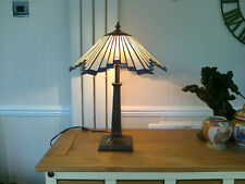 """A 21.5"""" HIGH + VERY HEAVY TWIN LIGHT TIFFANY STYLE LAMP WITH 17"""" GLASS SHADE"""