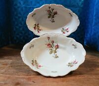 "(2) Vntg Rosenthal ""Moss Rose Pompador Ivory"" Oval Vegetable/Serving Bowls/11"""