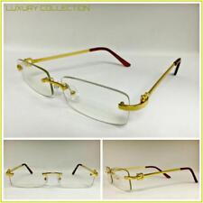 Men Classy Sophisticated Elegant Clear Lens EYE GLASSES Gold Metal Rimless Frame