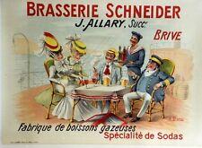 """""""BRASSERIE SCHNEIDER"""" Affiche originale entoilée Litho A. QUENDRAY début 1900"""