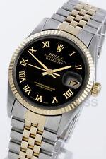 Rolex Mens Datejust Yellow Gold/Steel Black Roman Fluted Jubilee 16013 Quickset