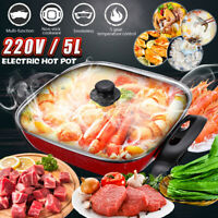 5L Electric Hot Pot Cooking Frying Non-Stick Smokeless Pan Food Steamer