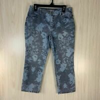 Chico's Platinum Denim Tropical Floral Capri Jeans Women's Size 8 Chico's Size 1