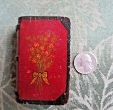 Match Box Cover Carved into a Mini Book 1-of-a-Kind Carving Hand Painted Vintage