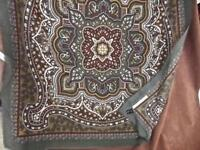 "Vintage ""Attitude"" Pure Fine Wool Boho Paisley Scarf 30"" Square Made in Italy"