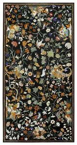 Black Marble Dining Table Top Pietra Dura Multi Floral Inlay Art Home Decor B335