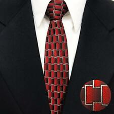 Slim Brick Crimson Tie Woven Jacquard 100% Silk Necktie Wedding Party Business